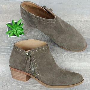 """Lucky Brand """"Benna"""" Brown Suede Leather Zip Bootie"""